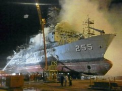 navy ship burn down