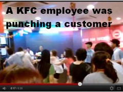 KFC employee beating customer