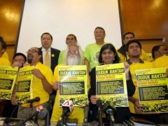 Ambiga Sreenevasan (front row, 2nd R), the leader of electoral reform pressure group Bersih 2.0 poses with other members (AFP)