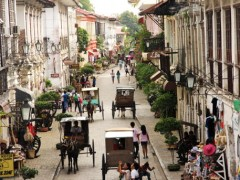 Calle Crisologo, the main street in the Historic Town of Vigan, Philippines