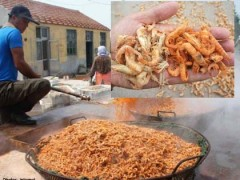 Factory workers cook the shrimp snacks in large amounts of dye to achieve the bright colour.