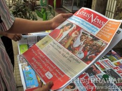 03-04-12 photo Kyaw Zwa MoeBurmese print media and newspapers on sale.
