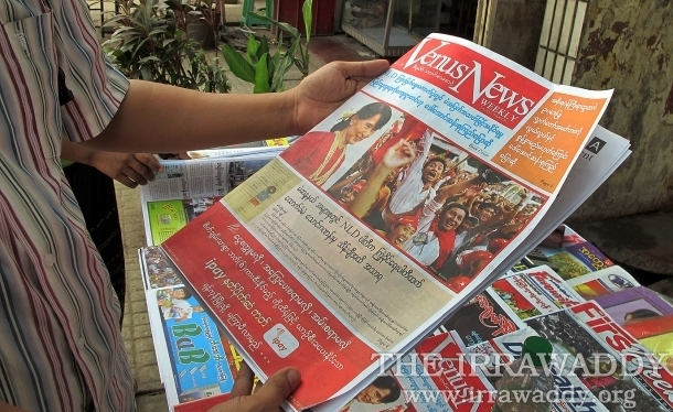 03-04-12 photo Kyaw Zwa Moe Burmese print media and newspapers on sale.