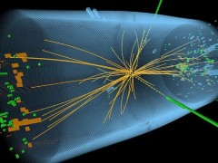 A representation of traces of a proton-proton collision measured in the search for the Higgs boson. Photo: AP