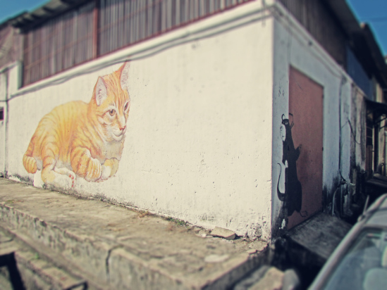 mouse and cat mural