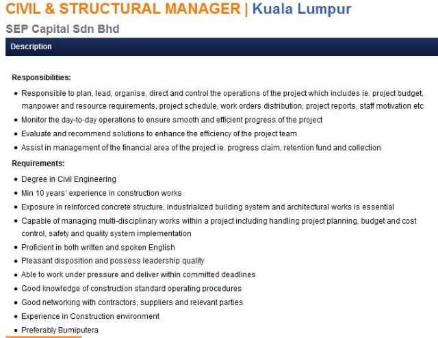 SEP Capital Sdn Bhd - CIVIL & STRUCTURAL MANAGER